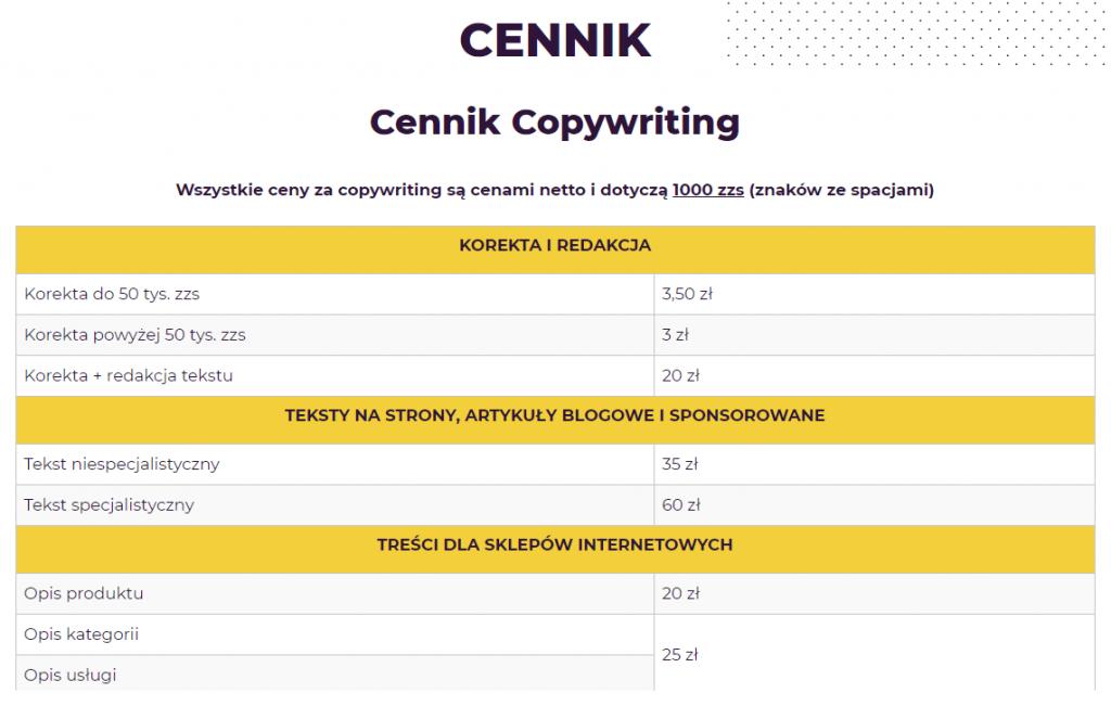 cennik copywriting