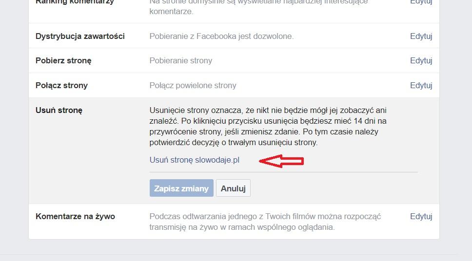 jak usunac fanpage na facebooku