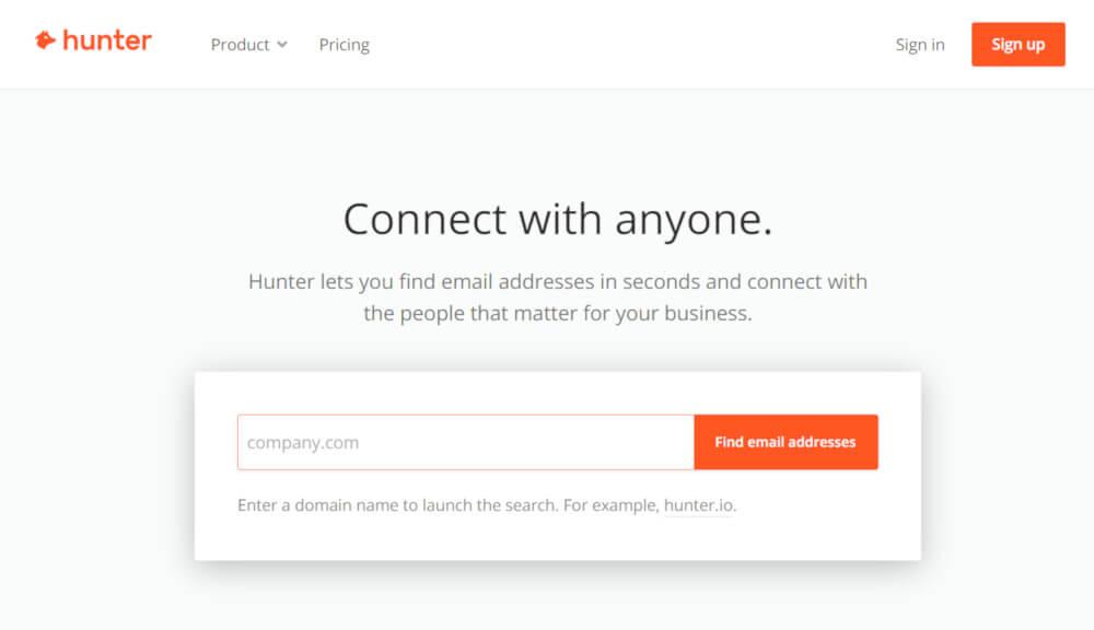 wyszukiwarka adresów email hunter